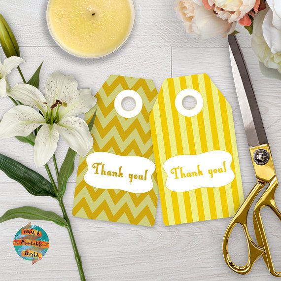 Thank You Tag yellow stripes and chevron gift anniversary