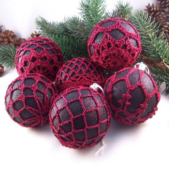 black burgundy christmas baubles christmas by drapedinlace