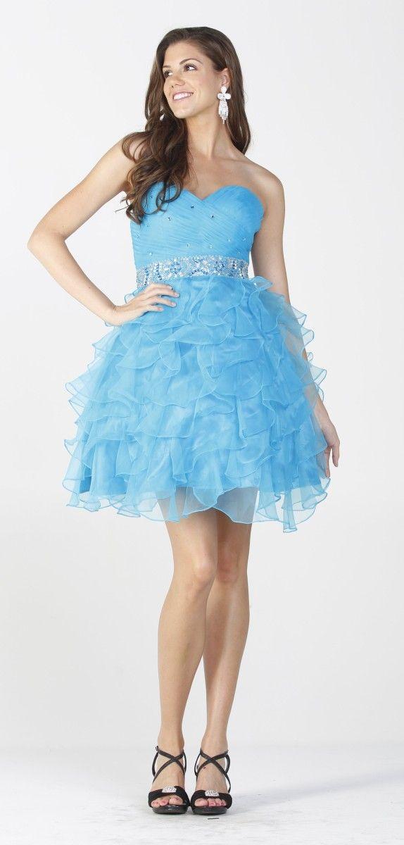 Sweetheart Cascading Ruffles Ball Gown Quinceanera Dress