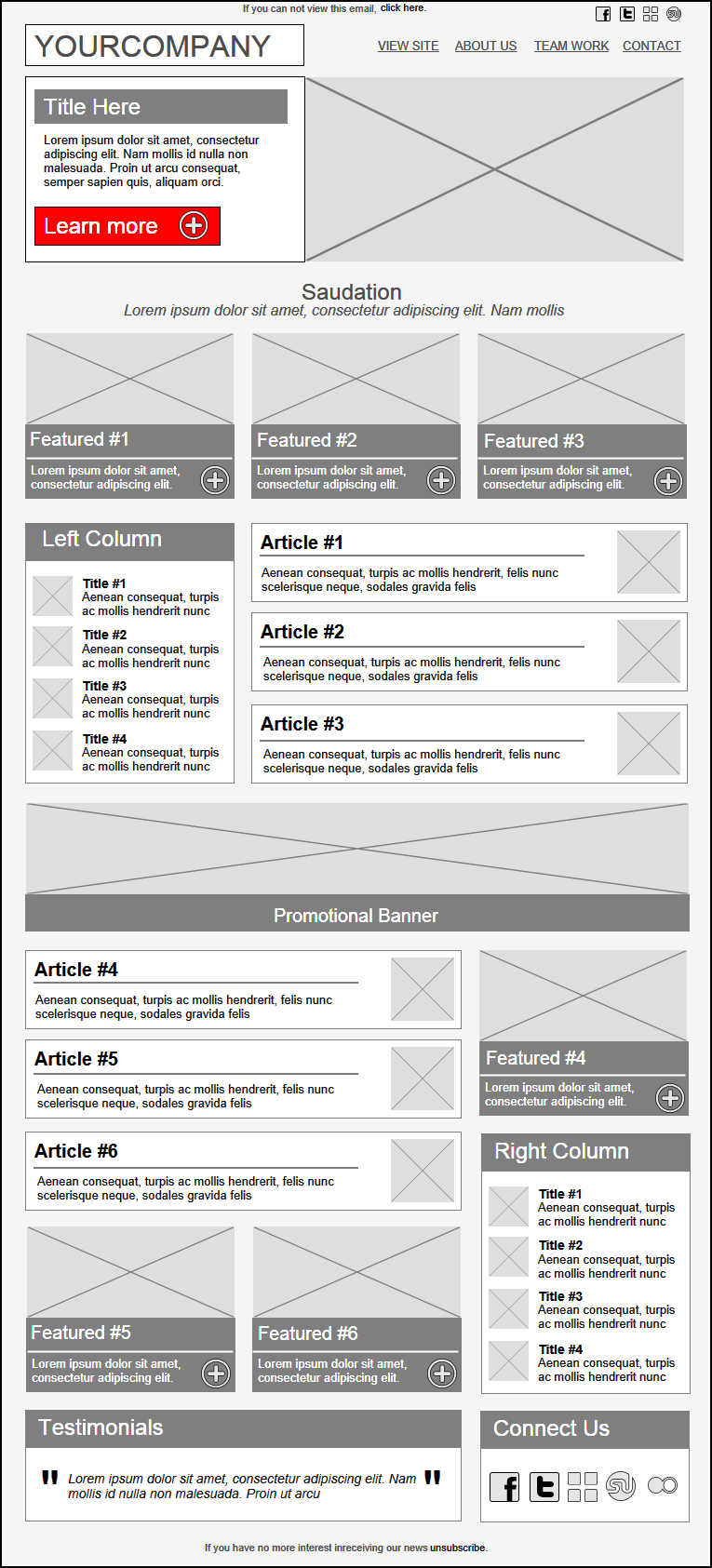 Sensation Email Template Wireframe. Import this template for free ...
