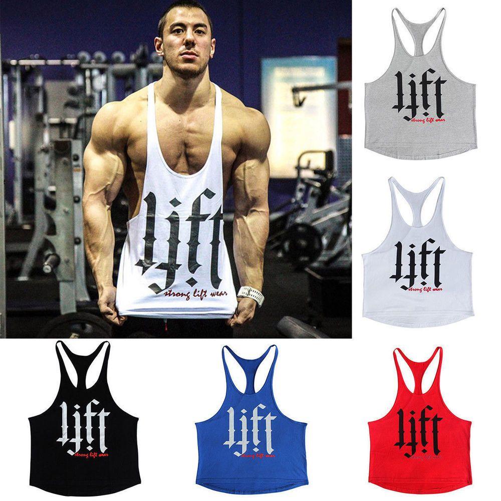 74fb6be6f6765 fashion Men s Gym Stringer Bodybuilding Tank Fitness Singlet Sleeveless  Muscle Vest Top