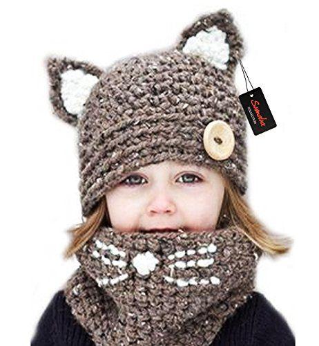 c7e688ebeea Amazon.com   Sumolux Winter Kids Warm Fox Animal Hats Knitted Coif Hood  Scarf Beanies for Autumn Winter   Sports   Outdoors