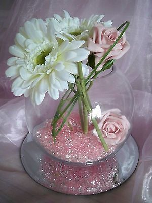 Hire Of Large Glass Fish Bowl Vase Centrepiece Wedding Flowers Table