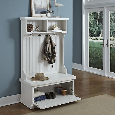 White Hall Tree Coastal Cottage Entryway Shoe Storage Bench Hat Rack Coat Hook