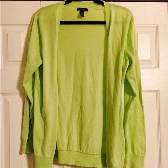 Neon Green Cardigan This cardigan is super comfy. Love it! Neon green Gap size large. I would keep it I just never have anything to wear it with. GAP Sweaters Cardigans