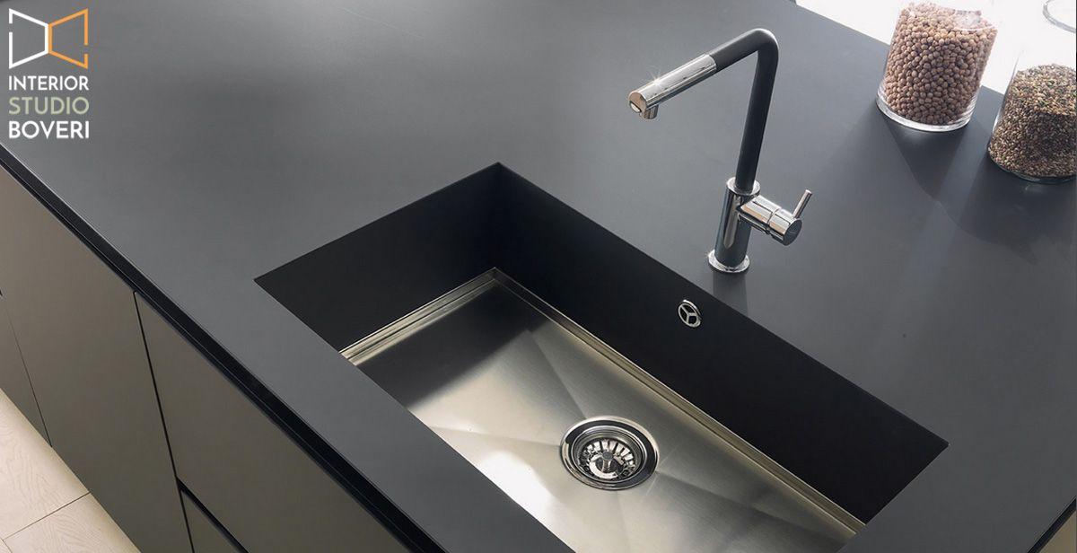 Lavelli Da Cucina Nero.Dettaglio Del Piano Di Lavoro In Fenix Nero Opaco Assoluto