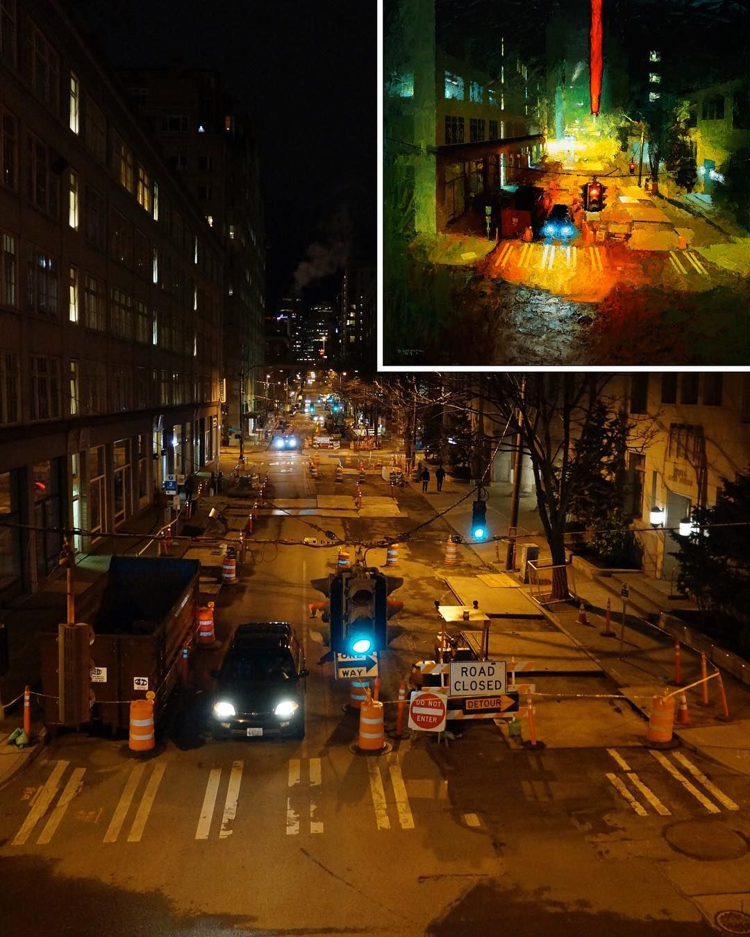 """...and one of my reference photos for """"Valley of Shadow"""" looking down on Western from the pedestrian bridge to the ferry terminal on Marion in downtown Seattle. Reference is a tool, a starting point from which something interesting can be created. Planning on doing cityscape for another video tutorial later this year"""