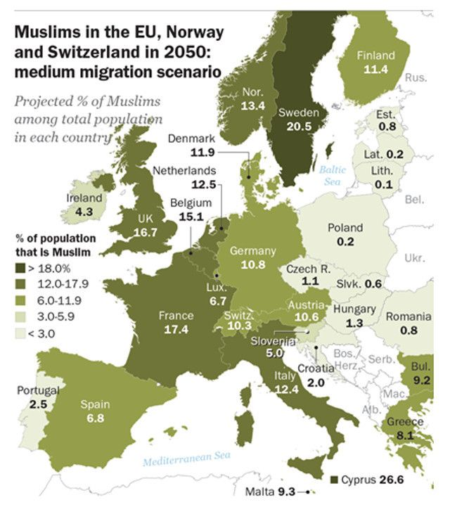 map of muslims in europe Maps on the Web — Muslims in European Union countries in 2050 in a