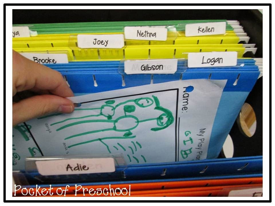 Portfolio organization: Keep a file for each child's ...
