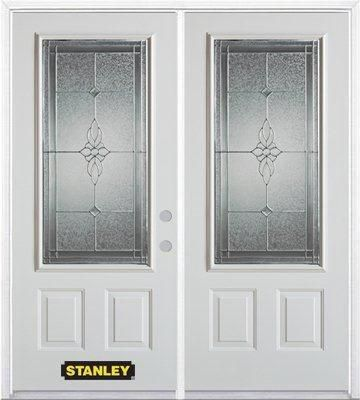 71 Inch X 82 375 Inch Victoria Brass 3 4 Lite 2 Panel Prefinished White Left Hand Inswing Steel Prehung Double Door With Astragal And Brickmould Double Doors Entry Doors Steel