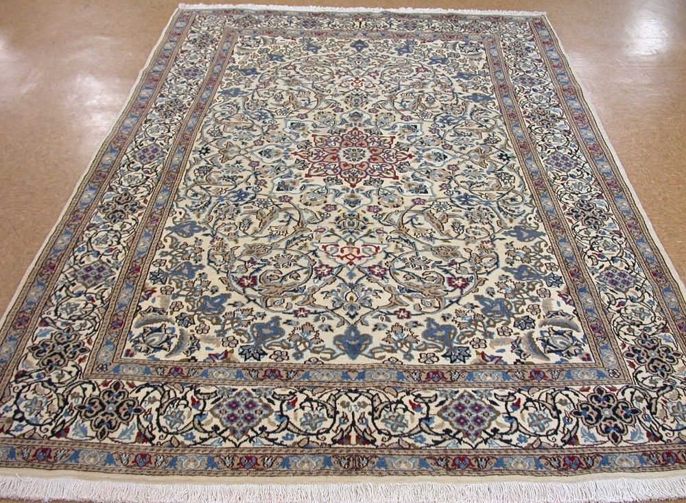 7 X 10 Persian Nain Hand Knotted Wool Ivory Blue Red New Oriental Rug Carpet