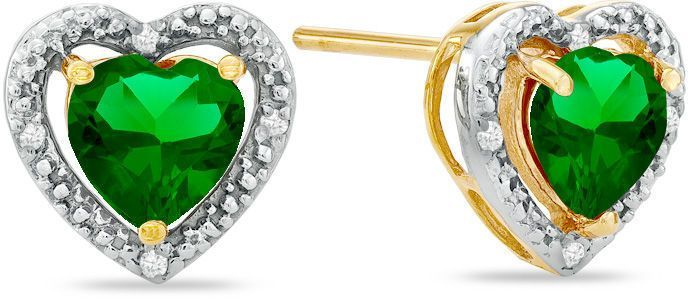 11335202e Zales 6.0mm Heart-Shaped Lab-Created Emerald and Diamond Accent Heart Frame Stud  Earrings in 10K Gold