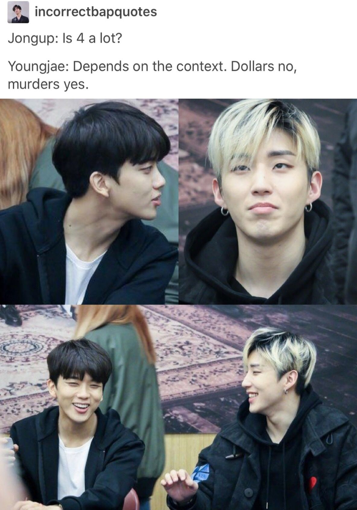 Step cutting hairstyle boy bap  jongup and youngjae  kpop humor gifs info  pinterest