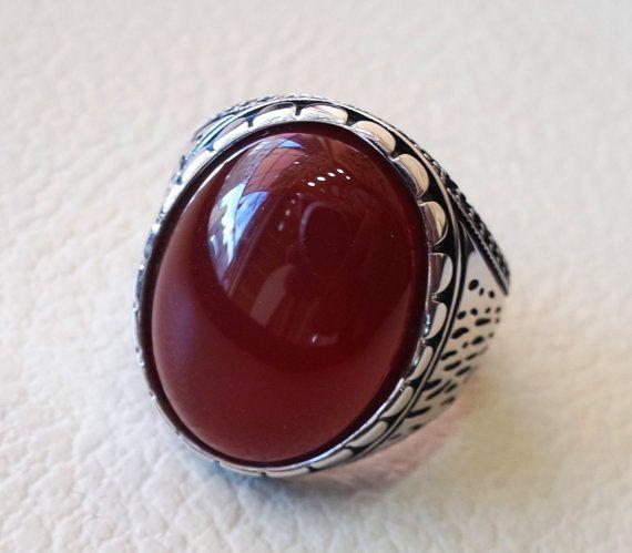 del fegato agata Corniola yemenita aqeeq anello gioielli in