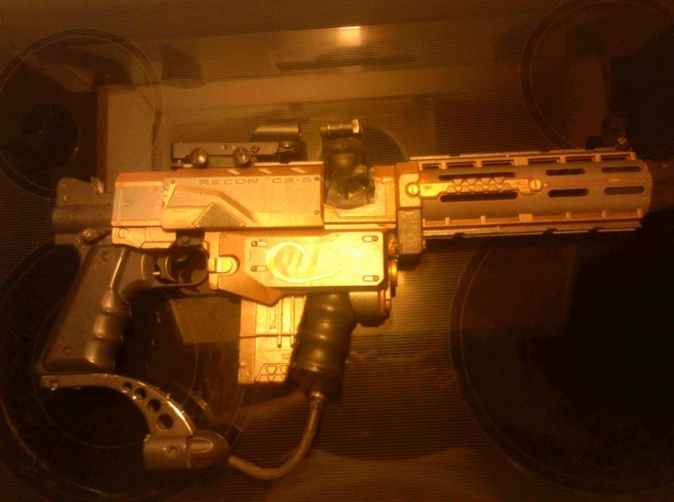 My husband made me this Steampunk Paintball Gun out of a Nerf gun and a  regular