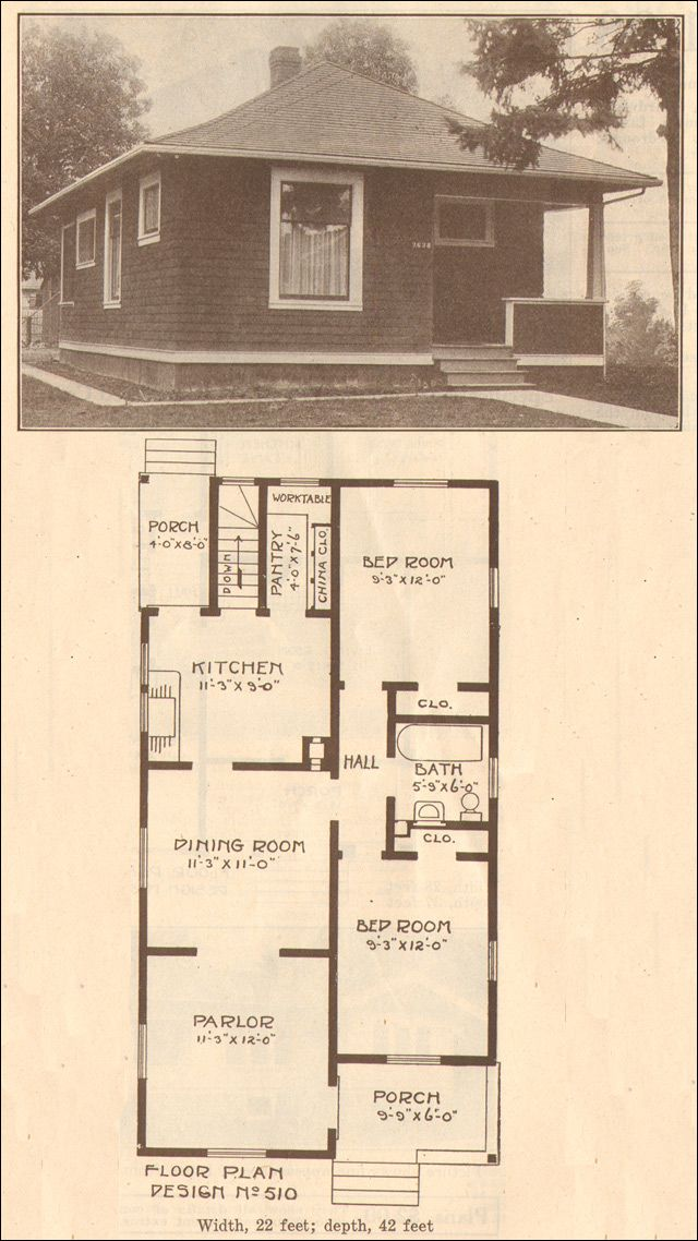 1915 Hewitt Lea Funck No 510 Bungalow House Plans Vintage House Bungalow Floor Plans