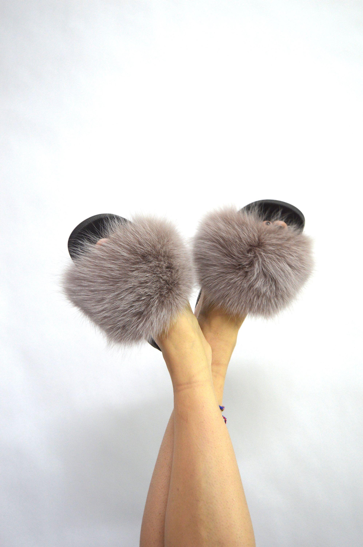 real fur slides taupe fox rubber fur slippon fur flip flop fluffy