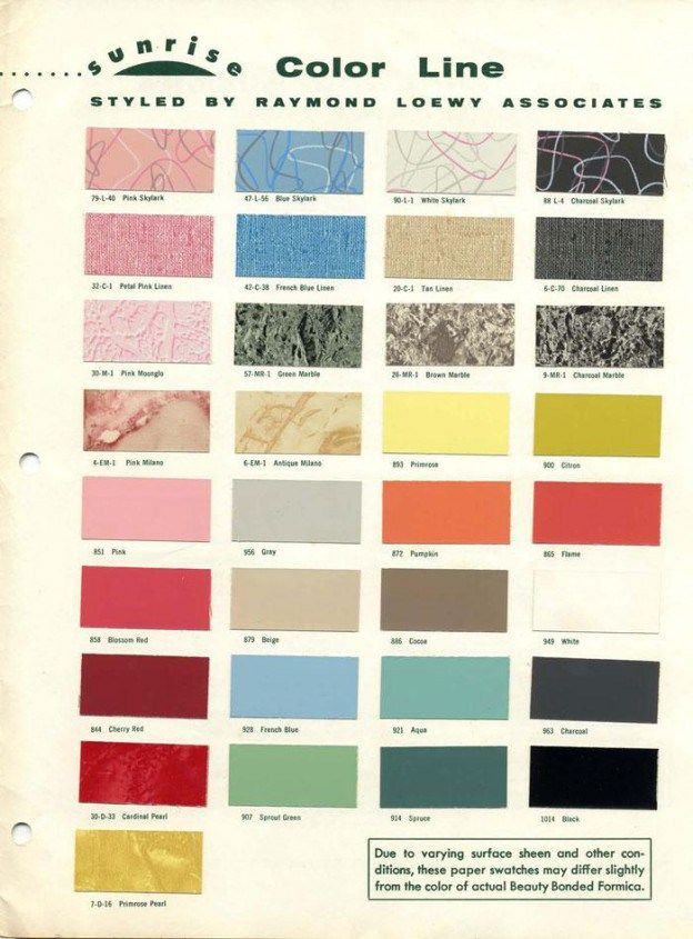Formica Sunrise Catalog 1950s Color Palette Mid