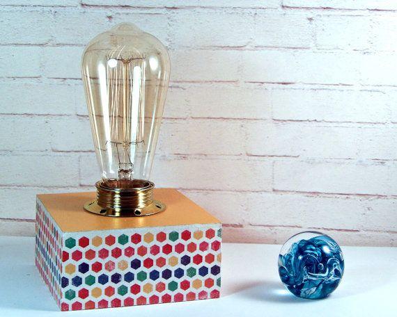 Modern Living Room Lamps - Retro Modern Table Lamp - Geometric Lighting - Mid Century Modern Desk Lamp - Yellow Lamp - Handmade Lamp - Retro