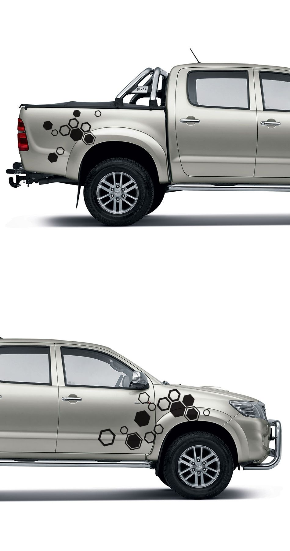 Free Shipping 2pc Hexagon Pattern Abstract Geometric Body Rear Tail 20032004 Toyota Sequoia Trailer Wiring Harness 4 Pin Flat Style Side Graphic Vinyl For Hilux
