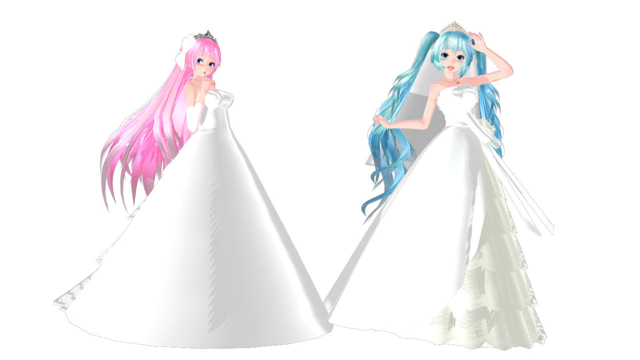 MMD Miku And Luka Wedding Dress By SilverDreamyRose