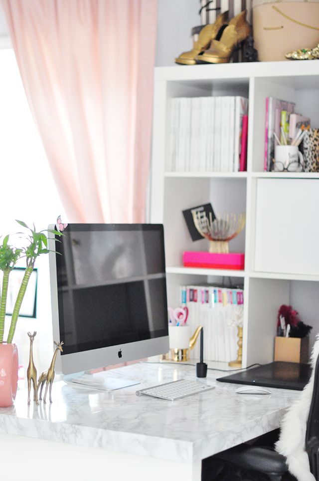 Great DIY Faux Marble Top   Home Office Desk Makeover