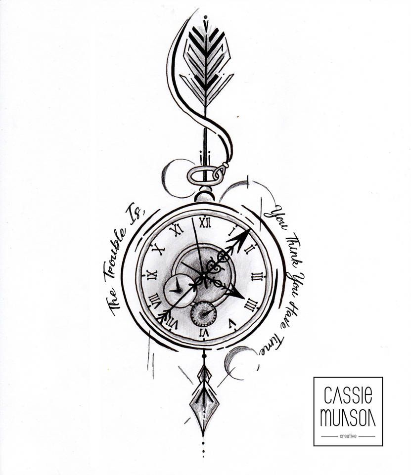 Photo of Pocket Watch Tattoo Commission by cassiemunson-art on DeviantArt