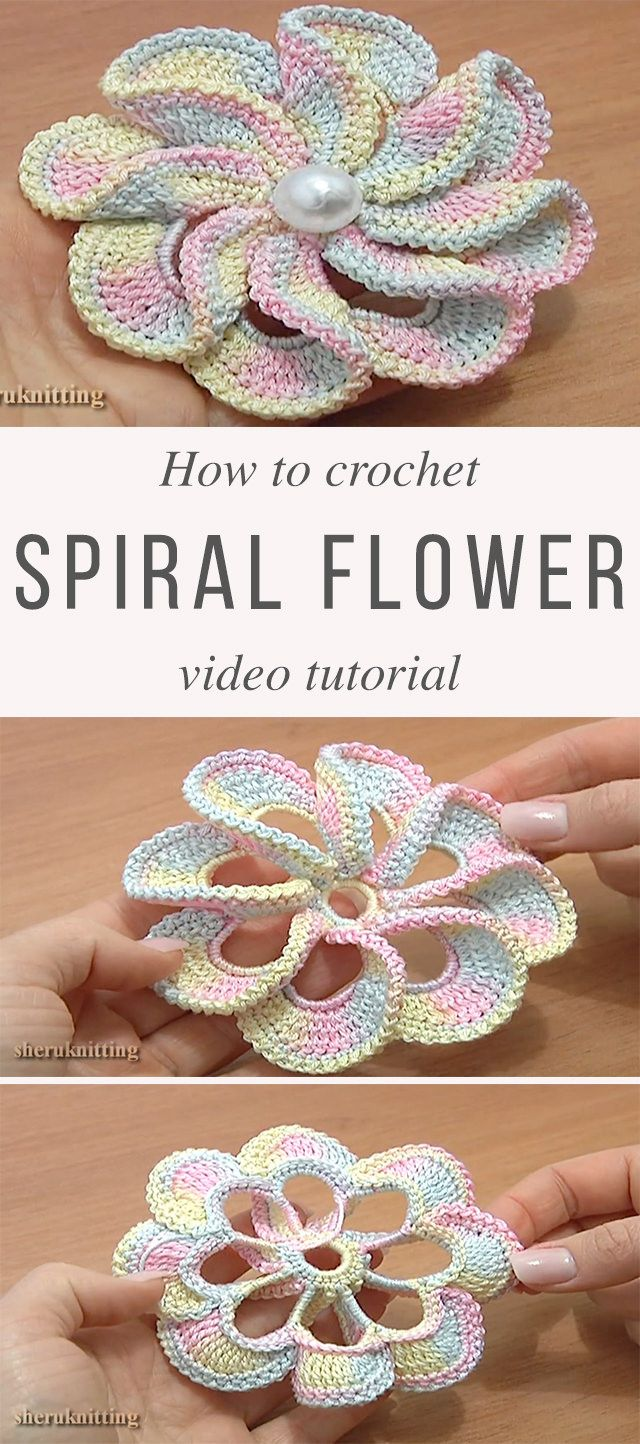 8 petal spiral flower pattern tutorial generico pinterest