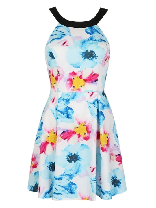 Bright Floral Print Backless Dress #shortbacklessdress