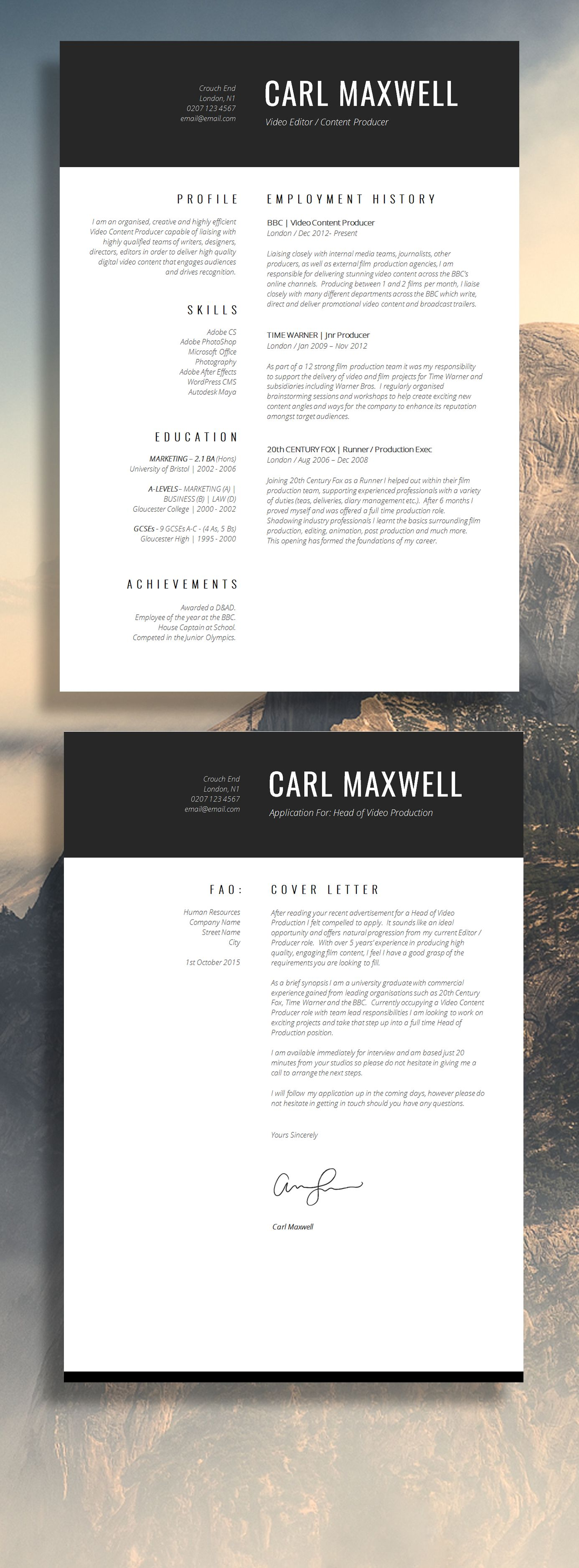 Professional Resume Template | CV Template | Resume Advice | Cover ...