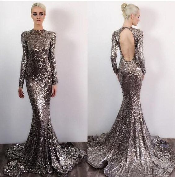 791489abf2 Open Back Long Sleeves Sequin Sexy Sparkle Mermaid Long Prom Dresses ...