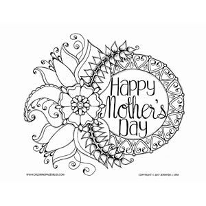happy mothers day coloring page stylized flowers adorn the side of the mandala wreath - Happy Mothers Day Coloring Page