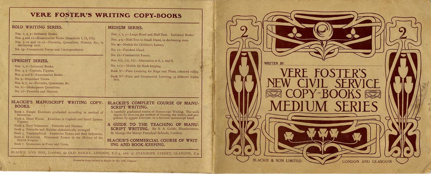 Aertists' manuals, vere Foster's New Civil Service Copy Book c1895