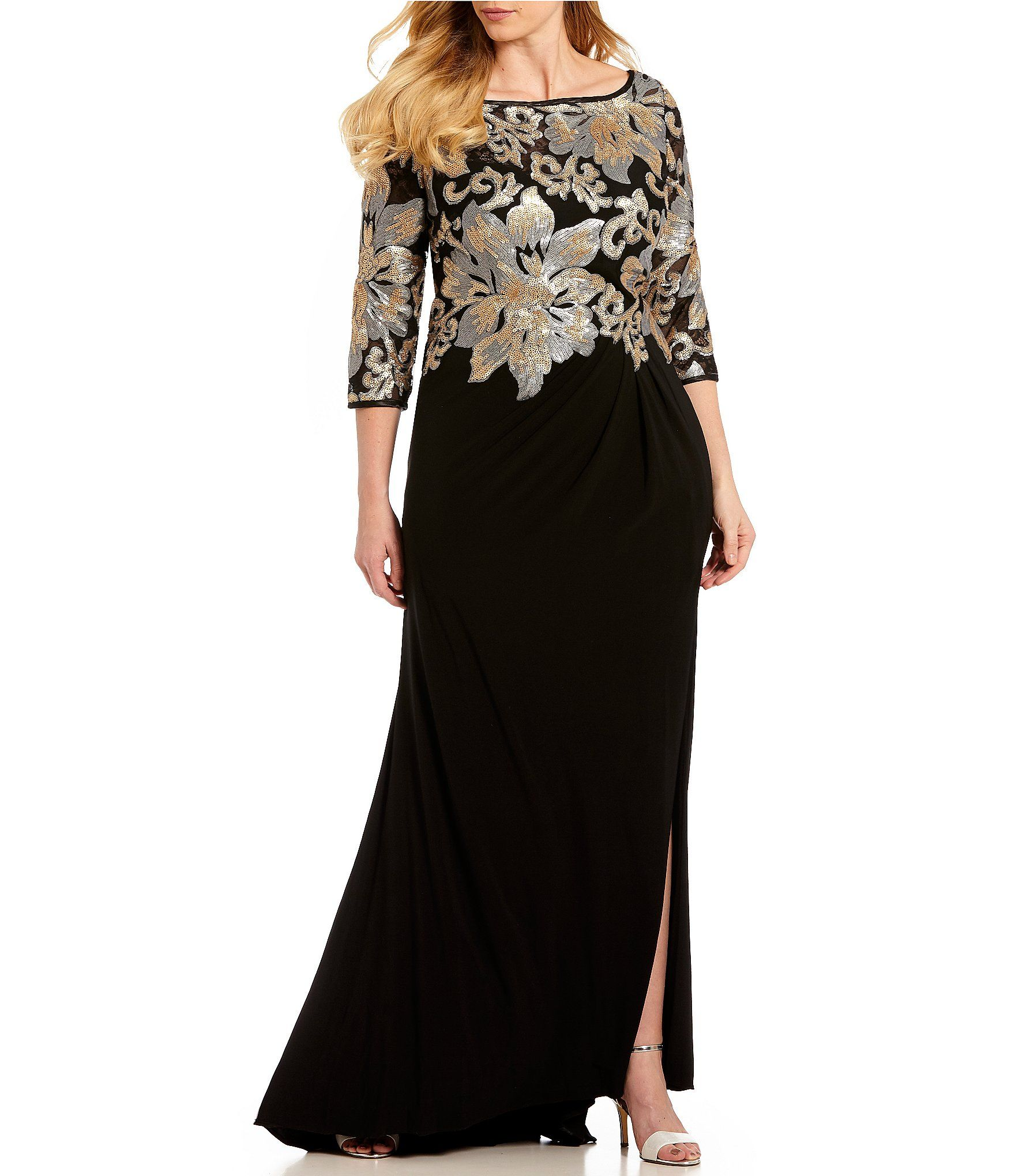 Shop for Terani Couture Plus Size 3/4 Sleeve Sequin Bodice ...