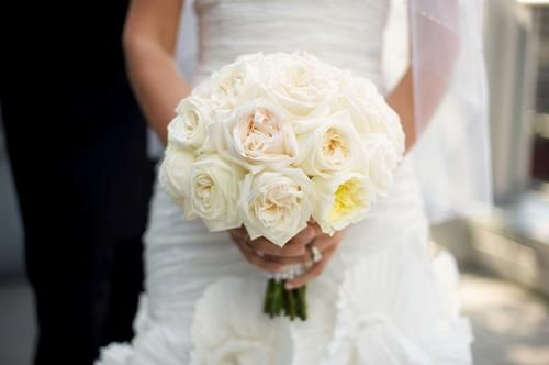 ivory garden roses expose a blush inside and resemble the beauty of a peony - White Garden Rose Bouquet