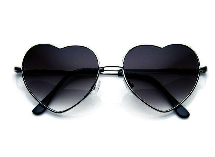 e5dbe6a024 Vintage Silver Fashion Lolita Heart Shaped Aviator Metal Frame Women  Sunglasses