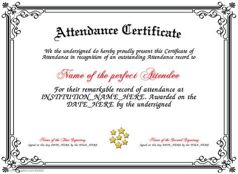 Attendance  Present An Attendance Certificate To A Person In Your