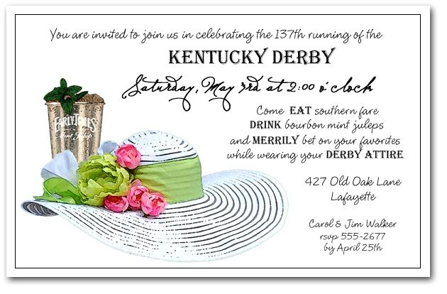 Mint julep white derby hat derby party hat party and kentucky mint julep white derby hat party invitations are perfect for your kentucky derby party or stopboris Image collections