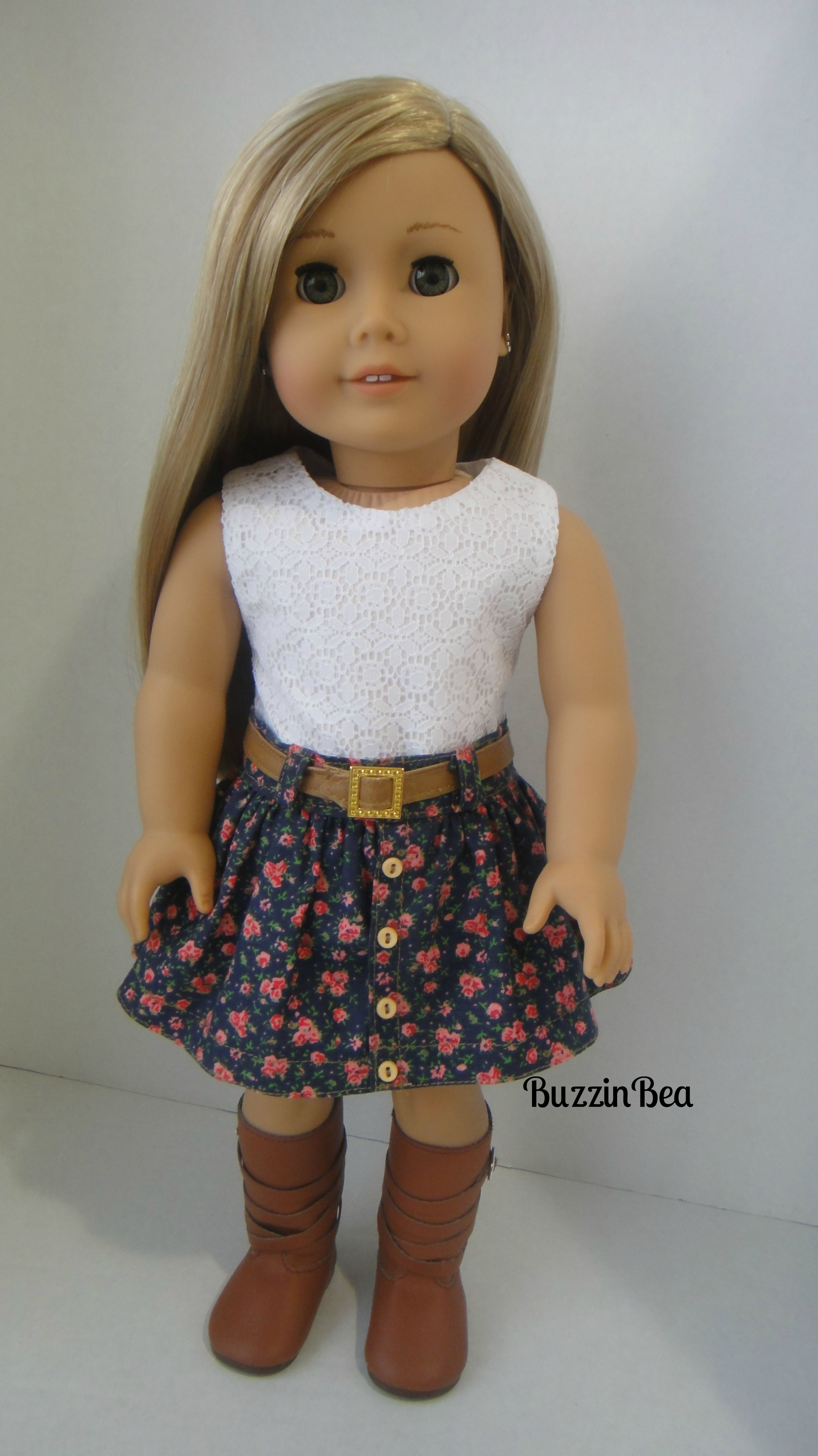 A version of the Button Front Skirt by Malen Chan of the Buzzin Bea ...
