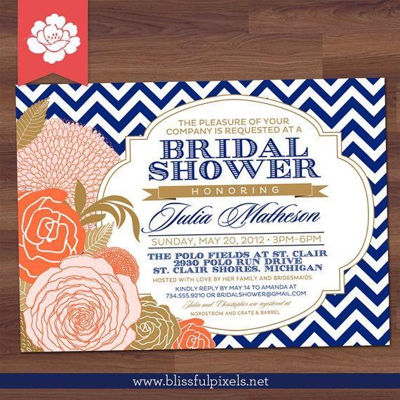 Bridal shower invitation chevron rose floral by blissfulpixels bridal shower invitation chevron rose floral in coral peach pink and navy blue filmwisefo