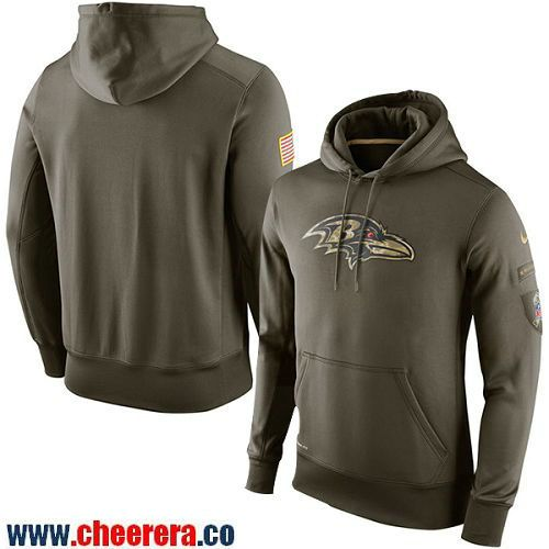 99480783 Men's Baltimore Ravens Nike Olive Green Salute To Service NFL KO  Performance Hoodie
