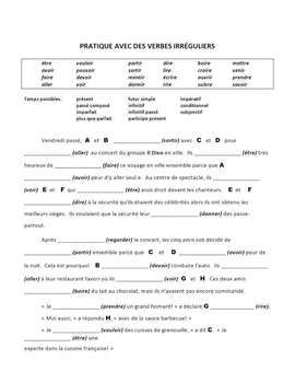 Year End French Verb Tense Review Worksheet High School French