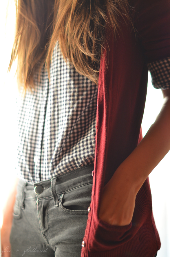 navy gingham + red sweater + grey jeans