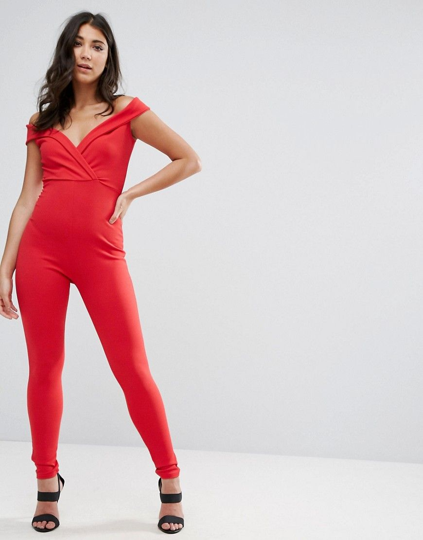 fee8e0aa5b Missguided Red Wrap Bardot Jumpsuit - Red