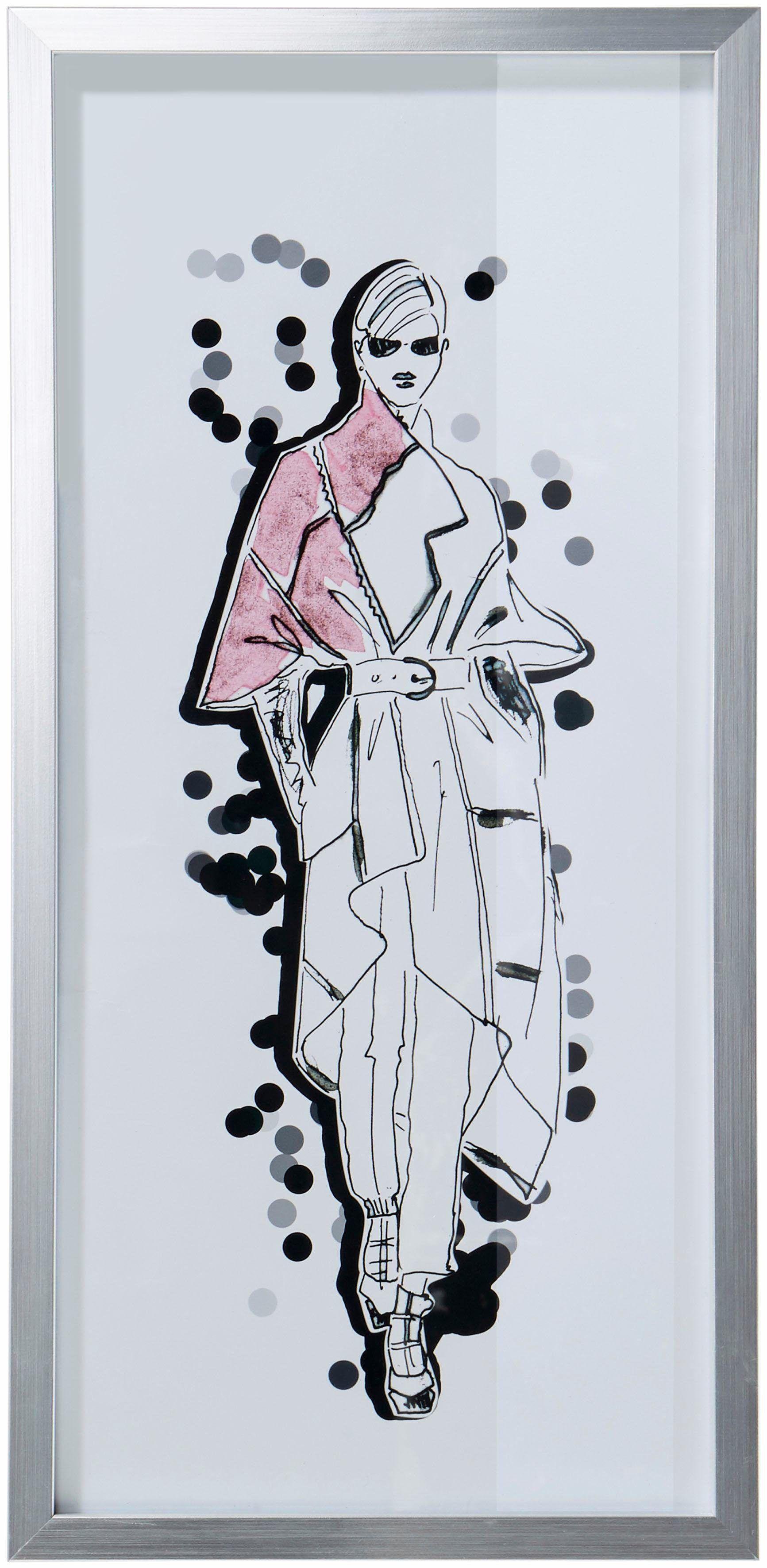 Guido Maria Kretschmer Home&Living Bild »Bild«, Fashion-Zeichnung, mit silbernem Rahmen, 23/50 cm