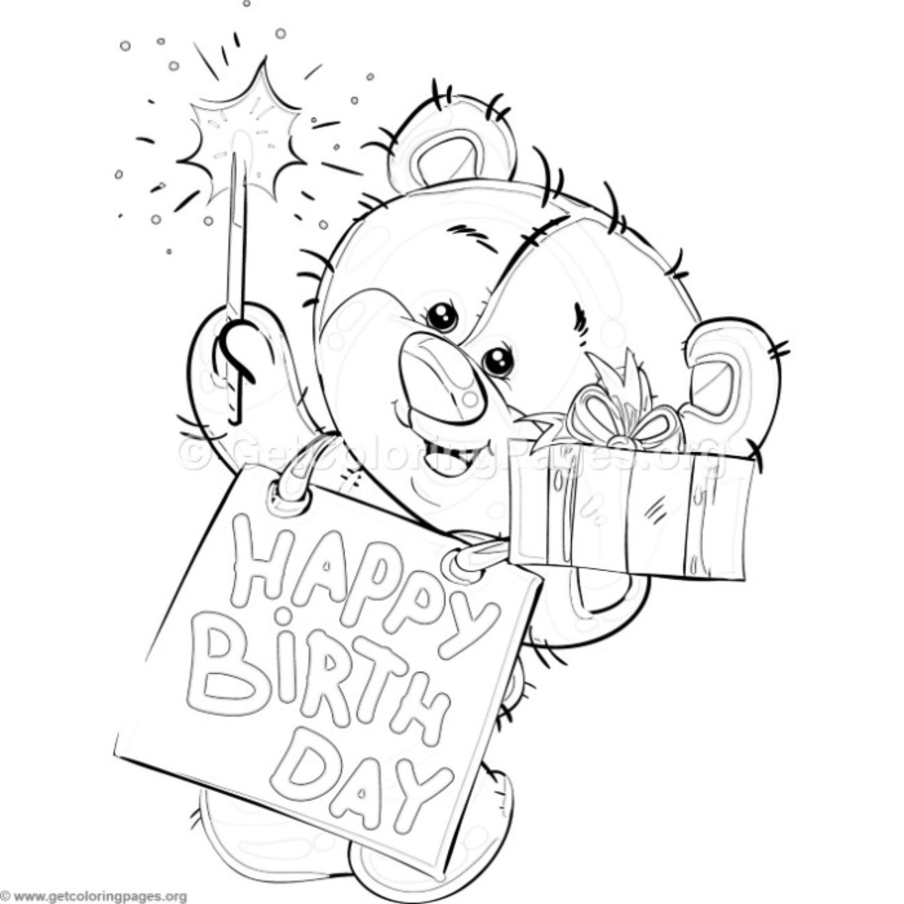 Happy Birthday Teddy Bear Coloring Pages Getcoloringpages Org