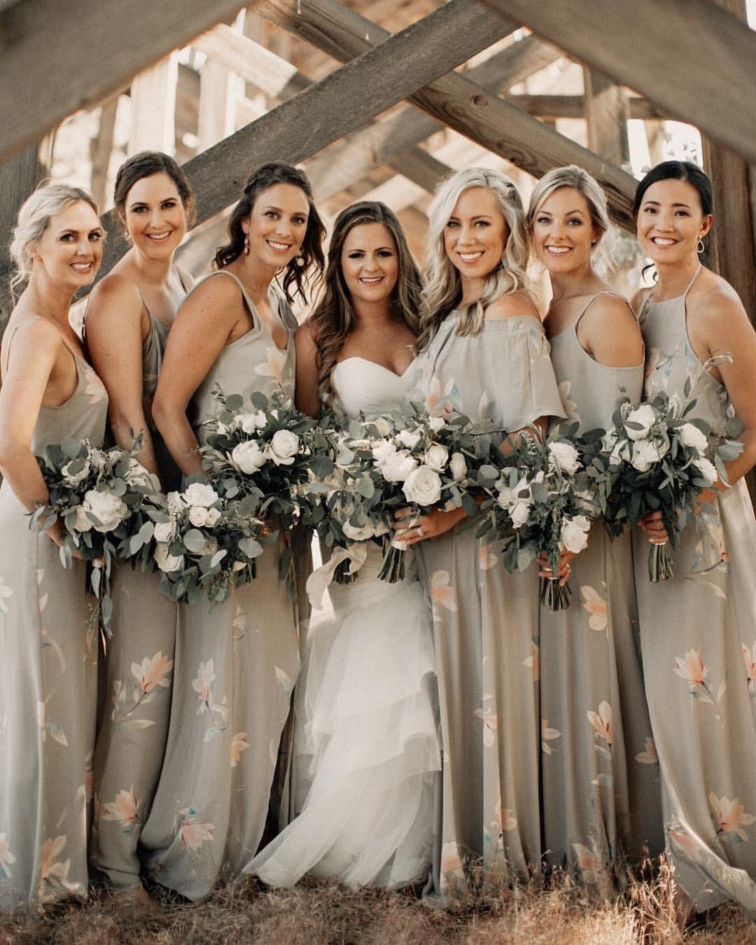 Grey Gray Taupe Wedding Bride Bridal Bridesmaid Dresses Long Floral Bridesmaid Dresses Taupe Bridesmaid Dresses Taupe Bridesmaid