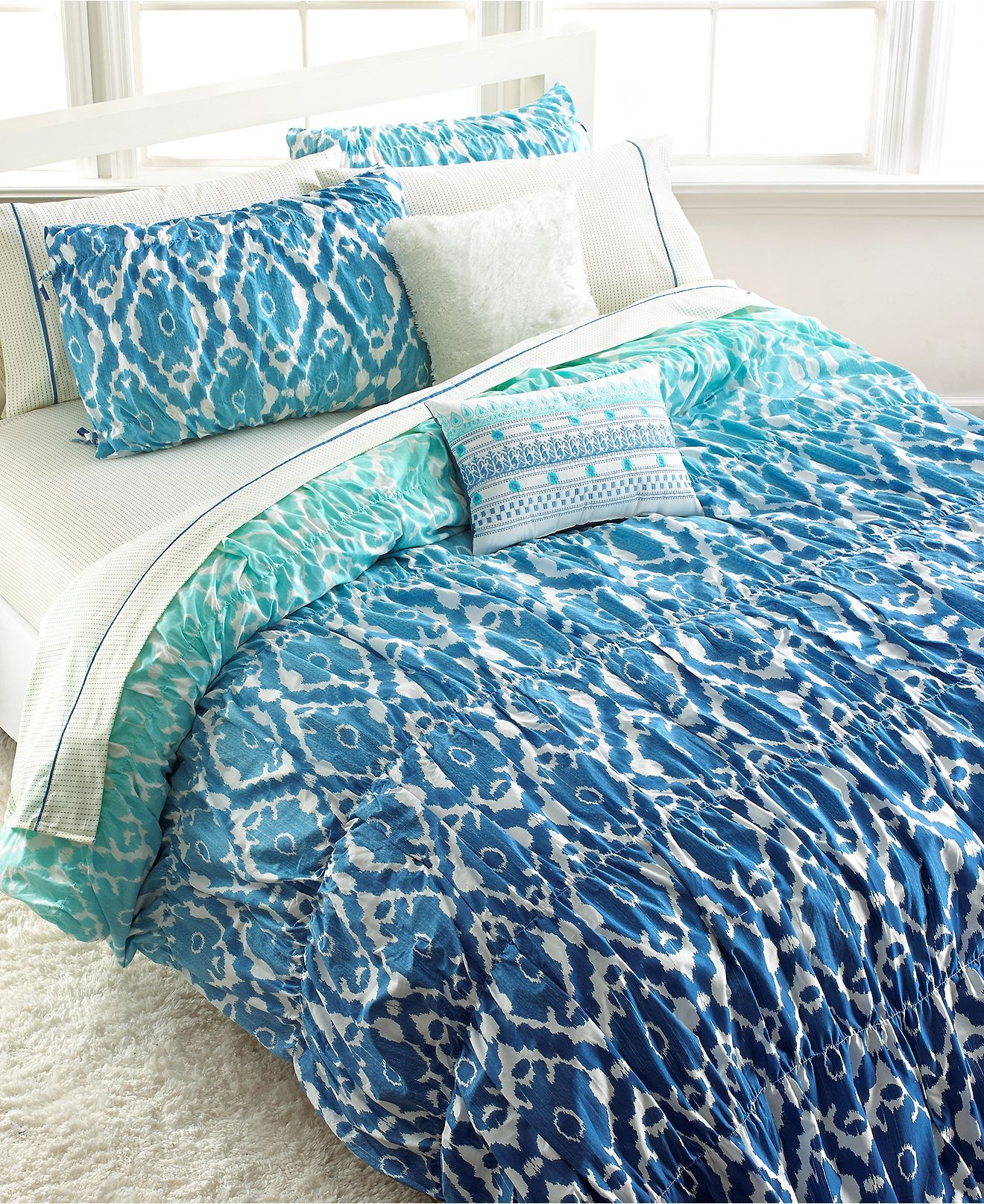 Teen Vogue Bedding Watercolor - Seventeen ombre ikat full queen comforter set bed in a bag bed