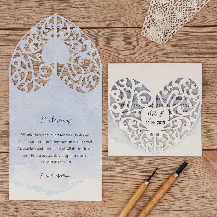 Mabelle | Einladung   Klappkarte Quadratisch #hochzeit #lasercut #papeterie  #einladungskarte #naturpapier