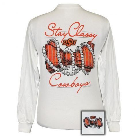 186f4e1d6ba OSU Oklahoma State Cowboys Stay Classy Bow Pearls Long Sleeve T-Shirt